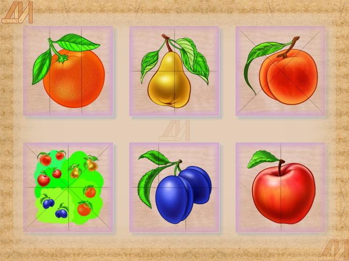 Разрезные картинки на дереве фрукты облегчает