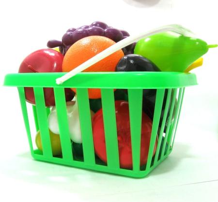 Игрушечные овощи и фрукты в корзине - Полесье игрушки